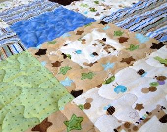 "Soft Flannel Baby quilt ""Zoo Babies"" Handmade crib blanket"