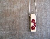 Clay  Pendant - Nature - Botanical - Red Flowers