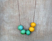 Geometric Necklace / Green and Yellow Necklace / Ceramic Necklace