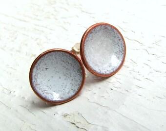 White Enamel Stud Earrings, Enamel on Copper, Sterling Posts