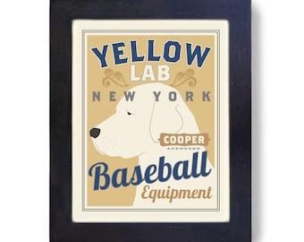Yellow Lab Retriever Personalized Baseball Team Custom Dog Portrait Art Print
