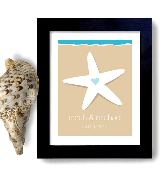 Personalized Beach Wedding Gifts: Items Similar To Beach Wedding Gift Art Print Personalized