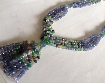 Tanzanite beads Emerald beads Multi Sapphire beads necklace weight 428 carats size 4-5mm designer necklace super fine quality