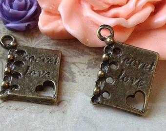 2 Pieces of 14 x 12 mm Antique Bronze Love Booklet Charm Pendants (.smi)