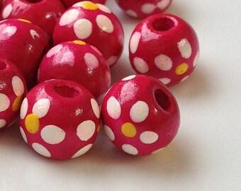 10 mm Hot Pink Colour Dot Dot Wooden Beads (.ht)