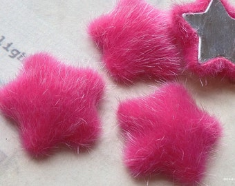 26 mm Hot Pink Color Star Shape Furry Fabric Button (.ss)