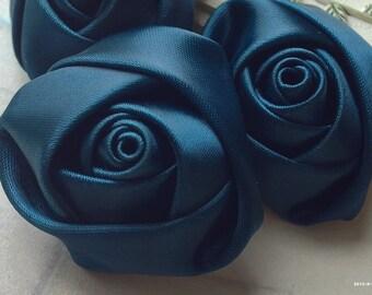 35 mm Midnight Blue Satin fabric Rose Flower  (.gc)