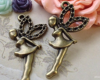 20 x 40 mm Antiqued Bronze Fairy Lady Charm Pendant. (.gm)