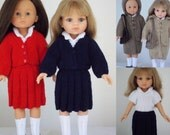 "School Days - PDF Doll Clothes knitting pattern for 13"" Les Cheries doll & 12.5"" Paola Reina doll"