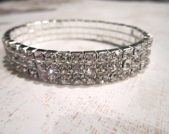3 Row Clear Rhinestone Bracelet