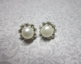 The Amy Earrings - Freshwater pearl rhinestone stud earrings