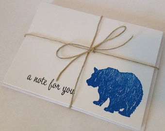 A Note For You with Bear - Blue, Green, Purple & Black - Set of 8 Cards