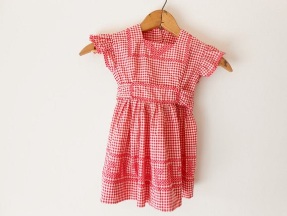Vintage girls red gingham dress from Rams Girl Design