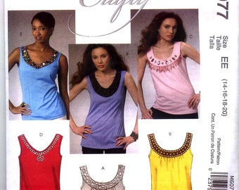 TOPS McCalls MAKE It CRAFTY Pattern m6077 Sz 4-12 or 14-20 Embellished Sleeveless Pullorver Tops Out Of Print Uncut Factory Folded