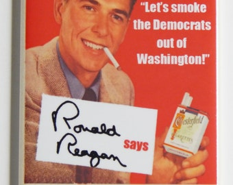 Ronald Reagan Smoking Fridge Magnet