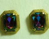 vintage Schiaparelli watermelon rhinestone earrings
