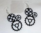 BLACK Gears Earrings Steam Punk Emo Alternative Rat Rod Motorcycles