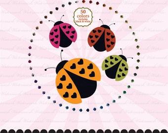 Ladybug clip art valentine ladybug clipart, ladybug invitation, ladybird party heart : c0282 v301 50