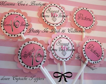 Momma Eva's -- (12)  Pretty In Pink Sweet 16 Collection / Layered Cupcake Toppers //   Birthday / Personalized Keepsakes //  Decorations