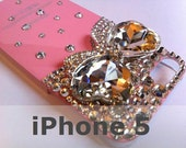Bling Rhinestone Pink Phone Case Jewel Bow for iPhone 5