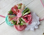 Ruffle flower baby headband infant newborn rolled rosette pleat, light mint green floral fabric colored elastic vintage inspired metal, thin