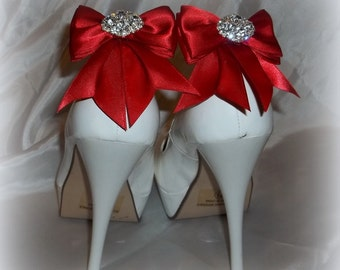Womens Shoe Clips Satin Shoe Clips, Rhinestone Shoe Clips Double Bows with sparkling rhinestones, Bridal Shoe Clips