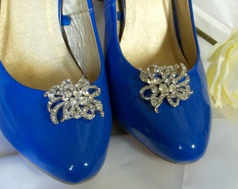 SHOE CLIPS Vintage Style Clear Rhinestone Shoe Clips Bridal Wedding  Silver Shoes Clips - set of 2 -
