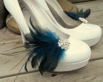 Wedding Bridal Feather Shoe Clips - set of 2 - Sparkling Crystal Rhinestone Accents -dark turquoise and dark blue