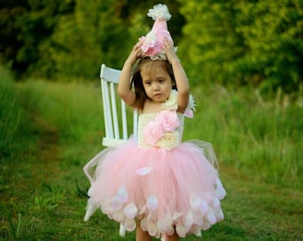 Pink  Birthday Tutu Dress  - Girls Birthday Dress -  Birthday Party Dress -  Birthday Party hat - Girls Birthday Outfit - Boutique Dress