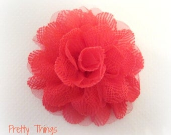 Bright Coral Flower Lace and Tulle -- 1 pc