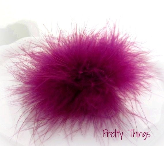 Fuschia Purple Marabou Puff. Purple Feather Pad. Purple Feather Puff. 1 pc