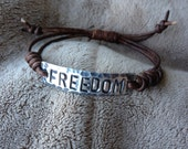 FREEDOM  ID Bracelet, silver, leather, Hand Stamped Pewter, Inspirational jewelry, bracelet with words, affirmation