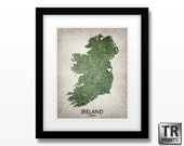 Ireland Map Art Print - Home Is Where The Heart Is Love Map - Original Custom Map Art Print Available in Multiple Size and Color Options