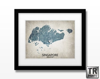 Singapore Map - Home Is Where The Heart Is Love Map - Original Custom Map Art Print Available in Multiple Size and Color Options
