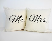 Mr. and Mrs. Throw Pillow Covers, Wedding Gift, Accent Decorative Pillows, Set of 2, 16x16, Cushion Cover