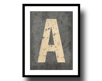 monogram initial letter art print distressed poster inspirational black cream grey typography 8x10 home decor industrial
