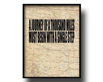 vintage map print atlas art quote typography inspriational travel motivational book page world famous sayings a journey of a thousand miles