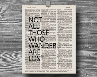 book page dictionary art print poster quote typography vintage decor inspirational motivational travel journey