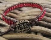Single wrap bohemian bracelet, Leather wrap bracelet Czech glass, Burgundy Czech glass leather bracelet