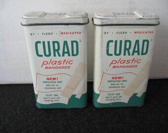 Vintage Lot of 2 Curad Band Aid  Tins