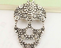Steampunk Skull Charms -5pcs Antique Silver Skull with Flowers Charm Pendants 31x44mm Large size AA406-5