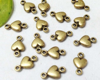 50pcs Antique Bronze Mini Heart Connector Charm for Bracelet 5x10mm E506-1
