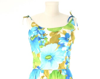 Julie Miller of California - 60s Floral Sundress - Size 4 or 6 Maxi Dress