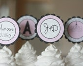 12 French Themed Bridal Shower Cupcake Toppers - Ask About our Party Pack Sale - Free Ship Over 65.00