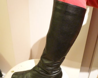 1960 Go Go Black Leather Boots