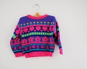 Vintage Geometric Hearts Pink Purple Toddler Sweater (2T)