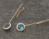 18K Gold Blue Gemstone Earrings - London Blue Topaz Dangle Earrings - 18K Gold Lollipop Earrings - Blue Gem Gold Drop Earrings Free Shipping