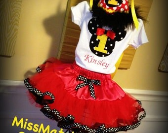 Minnie Mouse Birthday Tutu Top Hat Outfit Disney World Land Vacation