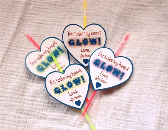 Glowstick Personalized Valentine's Day Cards (Blue) -Printable or Shipped
