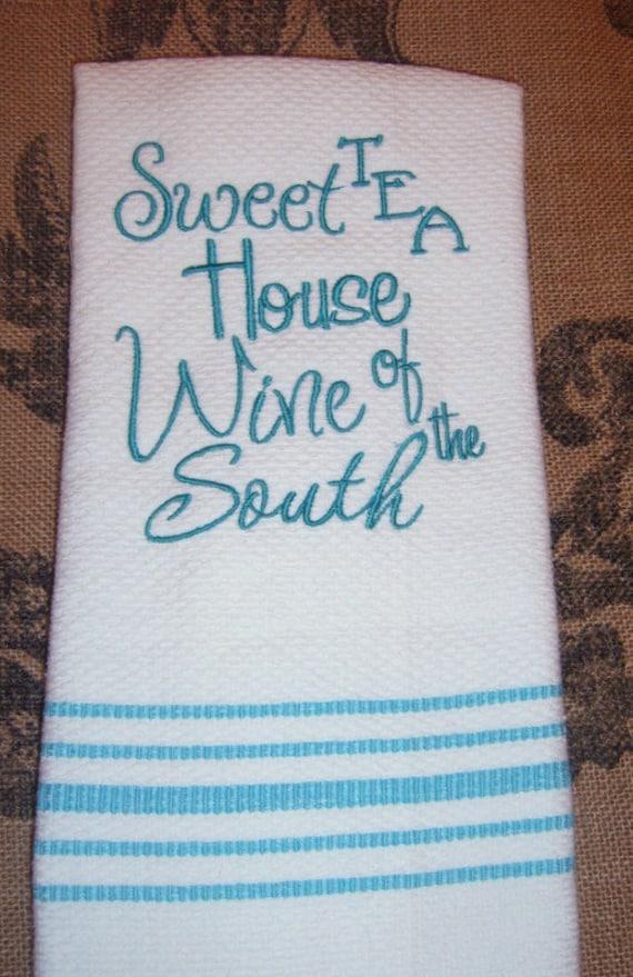 SALE Kitchen Towel Machine Embroidery Kitchen Decor Aqua